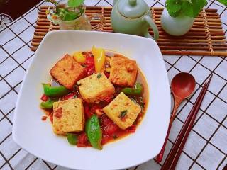 番茄彩椒烧豆腐,起锅