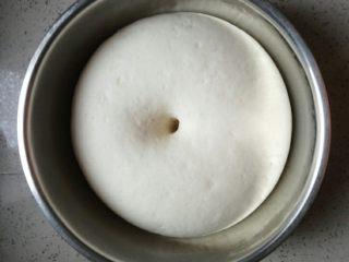 鲜笋香菇肉包,面团发酵至两倍大,手指戳洞不回缩不塌陷,就发好了