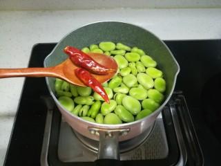 春天中的一抹绿-古早盐水蚕豆,最后放的是干朝天椒。我是不太能吃辣的,如果喜欢吃特别辣的可以把辣椒切开或者多放几个进去。