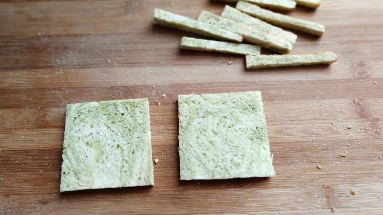 芝士培根三明治,把吐司四周硬边切去