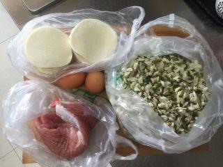 槐花馅饺子,食材备用
