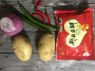 干锅土豆片,准备好食材