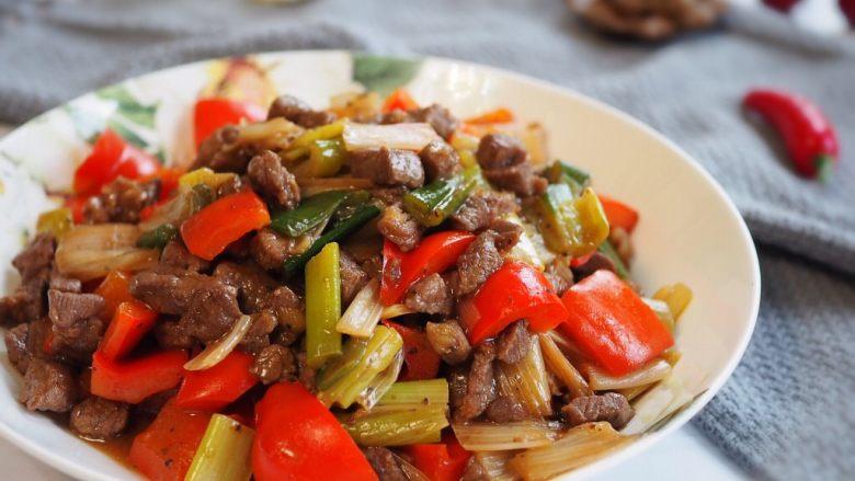 红椒炒牛肉粒