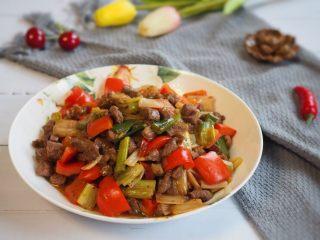红椒炒牛肉粒,成品。