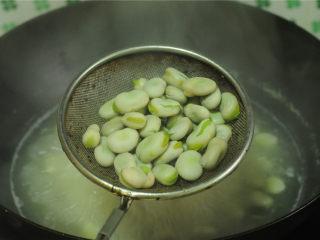 茴香蚕豆,不能确定蚕豆是否成熟,可以夹出来尝一个,蚕豆绵软后用漏勺捞出,沥干水分。