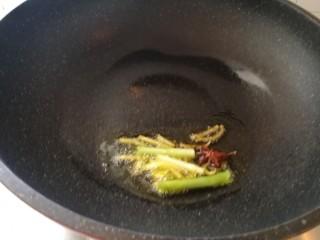 家庭版&可乐鸡翅,油热放入八角,葱丝姜丝,炒出香味。