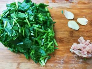 菜油肉丝菠菜汤,菠菜洗净切断,肉丝是腌制好的肉片改刀切成丝,姜切片