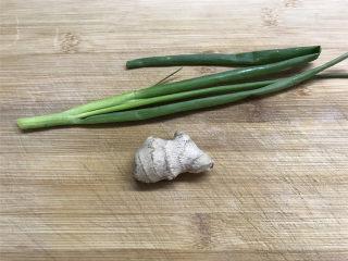 上汤螺蛳 ,准备好香葱和老姜。