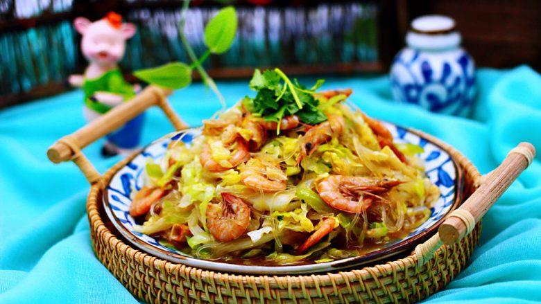 鲜美无比的包菜粉丝炒海虾