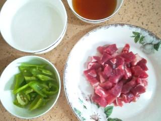 东北熘肉段,淀粉加入水,水要比淀粉稍多一些,醒15-20分钟,这样炸出来的肉段不硬,外酥里嫩。 猪肉切小块,青椒切块,葱蒜切末 用生抽少许,淀粉少许、盐、清水,兑成料汁。