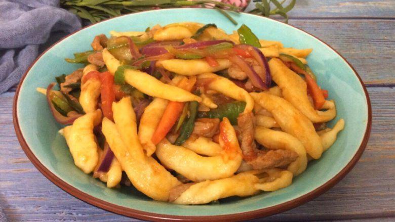辣炒手搓土豆面鱼