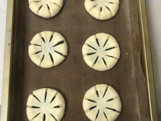 豆沙花朵面包,放入烤盘