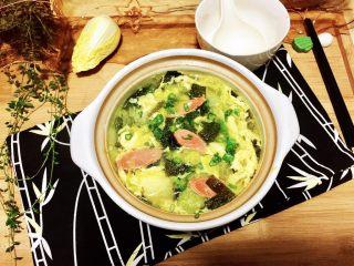 清清淡淡一碗汤➕娃娃菜海带鸡蛋汤,成品