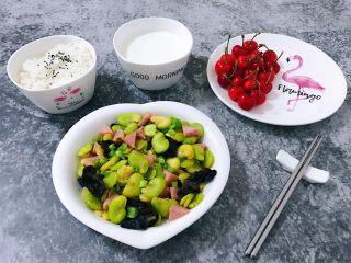 蚕豆炒火腿,美好的一天从丰盛的早餐开始
