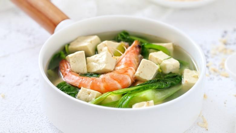 鲜虾小白菜豆腐汤