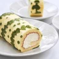 抹茶花纹蛋糕卷