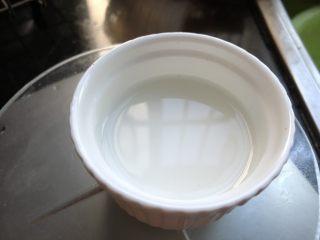 低脂晚餐之嫩溜鸡片,生粉用一勺水调开。等鸡片全部变成白色时,加入水淀粉。