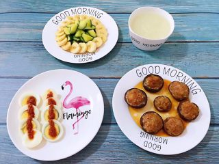 香菇镶鲜肉丸,美好的一天从丰盛的早餐开始