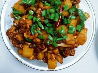 麻辣土豆鸡块,洒上葱花,麻辣土豆鸡块就出锅啦。土豆绵软,鸡肉筋道,汤汁配米饭或者面条都是绝配哦