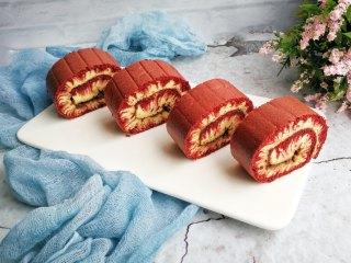 旋风蛋糕卷[红丝绒],摆盘