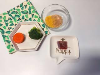 【宝宝辅食】杂蔬牛肉粥,准备食材:宝宝米+小米 40 g、胡萝卜 一小段、西蓝花 一小朵、牛肉 适量;