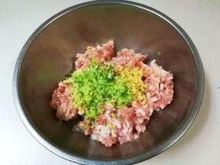 豇豆猪肉水饺,放入葱姜