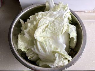 黑白配,小清新➕木耳清炒大白菜,取几片大白菜叶片,阿晨一个人吃,大概取了五片,足够了。淡盐水浸泡着,先去准备其他配菜