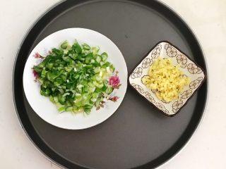 风味炒面  芽菜肉末炒玉米面,把大葱切成葱花,鲜姜切成末