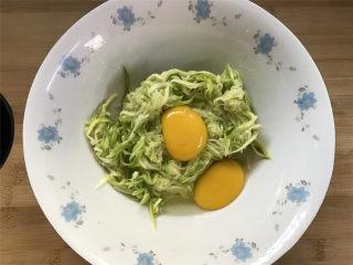 西葫芦鸡蛋饼,放入碗中打入2个鸡蛋。