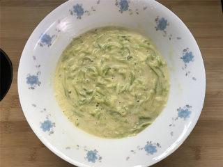 西葫芦鸡蛋饼,拌好后的面糊不要太干或太湿,看状态可以加少许水调整。用勺子盛起呈黏稠状,但还可以缓慢流动。