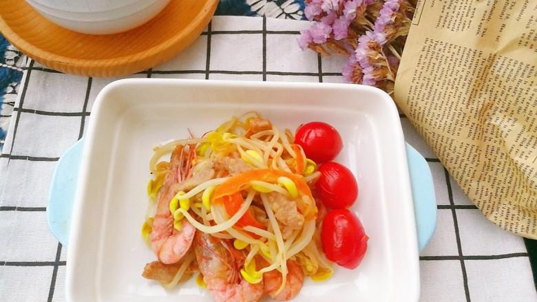 快手菜,肉丝豆芽爆海虾