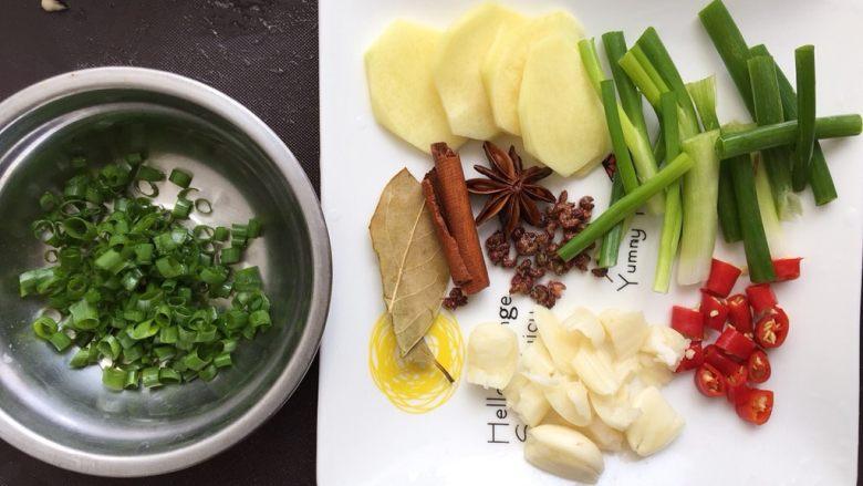 大盘鸡,把小葱头切段,剩下切葱花;姜切片,辣椒切段,蒜头切碎,其余洗净备用