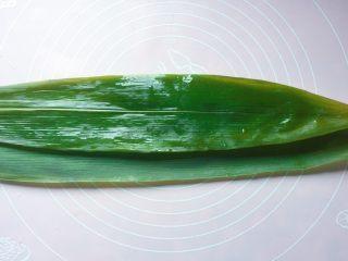 蜜枣西米粽子,两张粽叶,叶柄相对,光面朝上,重叠在一起;