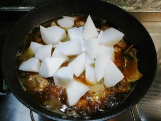萝卜炖排骨,放入切滚刀块的白萝卜烧开,继续炖至萝卜软烂