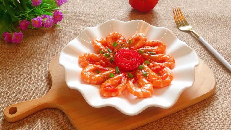 茄汁大虾,出锅摆盘即可食用。
