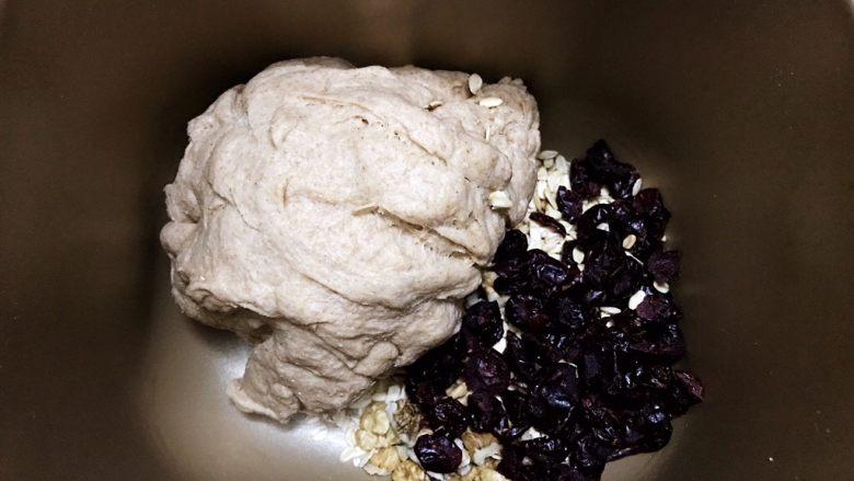 无糖低脂果干全麦面包,揉面10分钟成团后,加入果干和燕麦片