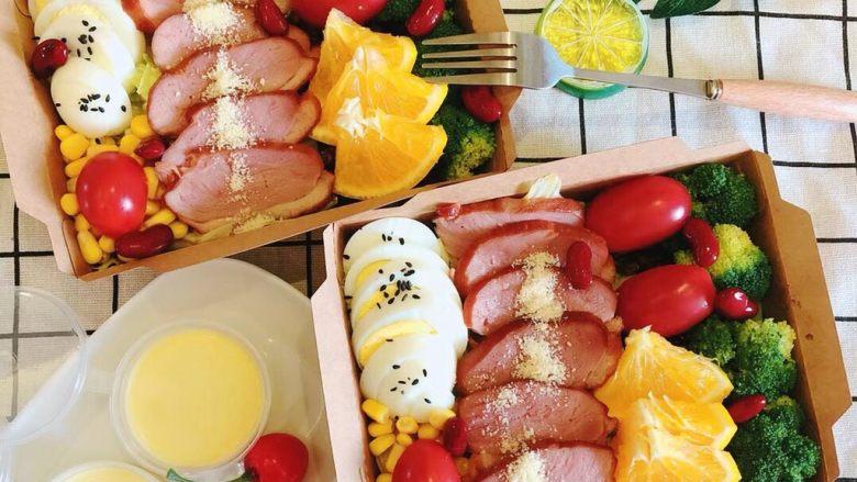香橙沙拉酱➕烤鸭胸肉沙拉