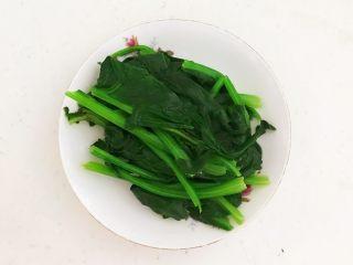 杂蔬火腿羊汤,用手轻轻挤出菠菜里面的水份