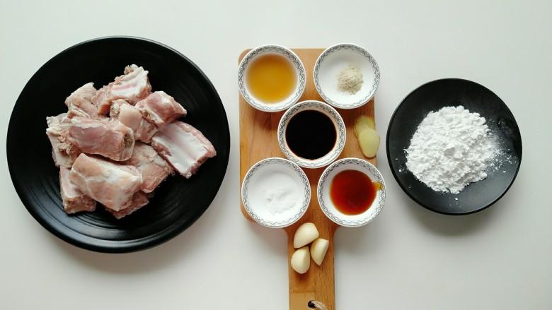 蒜香小排,准备所需食材