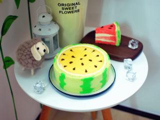 夏季私房热门的西瓜蛋糕,将戚风蛋糕体食材中的红色素换成柠檬黄,其余配方以及做法不变,可以制作出黄肉西瓜蛋糕。