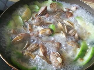 去湿化瘀,丝瓜花蛤汤,加水大火烧开,加入花蛤,大火烧开