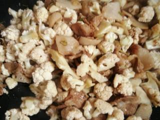 菜花炒肉,倒入菜花与肉一起炒,放十三香和盐