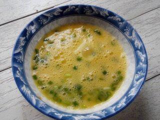 懒人蛋抱饭,将鸡蛋打入碗内,加入盐、葱花充分打散