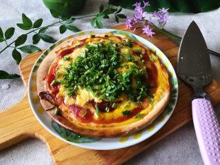 早餐番茄酱火腿鸡蛋披萨,有没有诱惑到你(❀ฺ´∀`❀ฺ)ノ