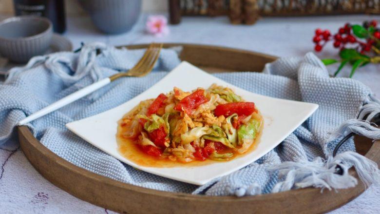 番茄鸡蛋炒圆白菜,成品图。