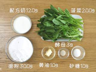 12m+菠菜奶香馒头,食材准备~