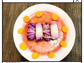 紫白菜裹肉卷