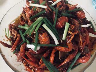 麻辣小龙虾,盛到已经炒好的黄瓜盘子里,上面放些葱段就可以了,又香又麻辣的龙虾做好啦!😍