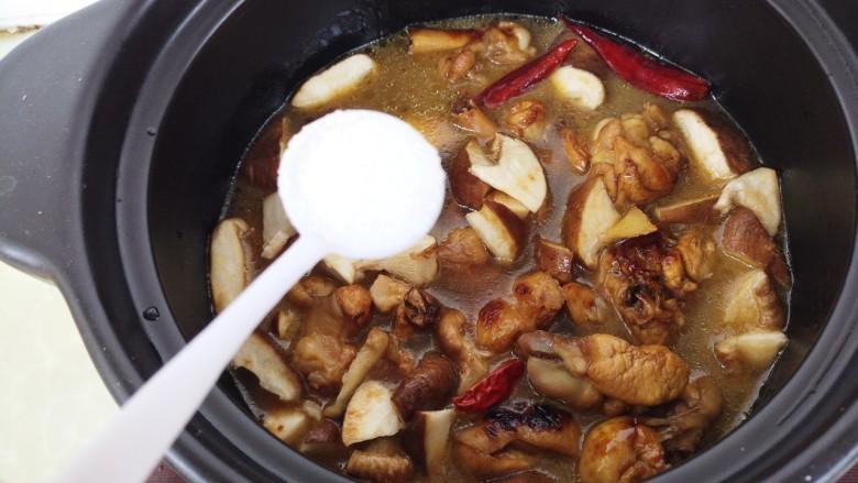 黄焖鸡,开始小火炖。加一勺盐。