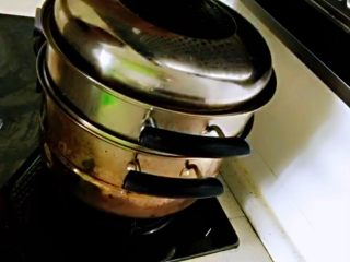 红薯叶胡萝卜块,锅中水烧开,放入蒸10分钟即熟。